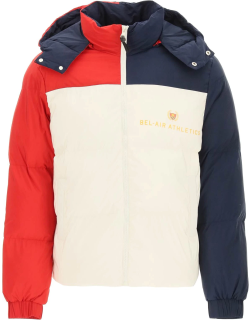 BEL-AIR ATHLETICS ACADEMY CREST COLOR-BLOCK PUFFER JACKET M White, Red, Blue Technical
