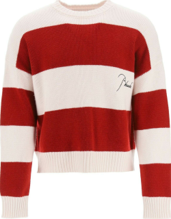 RHUDE STRIPED SWEATER WITH EMBROIDERED LOGO S White, Red Wool, Cashmere