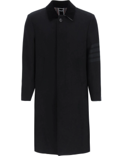 THOM BROWNE WOOL AND CASHMERE OVERCOAT 1 Black Wool, Cashmere