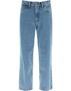 LIBERAL YOUTH MINISTRY DENIM PANTS WITH LOGO PATCH S Blue Cotton