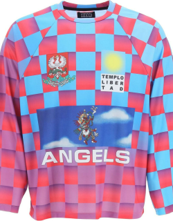 LIBERAL YOUTH MINISTRY 80's FOOTBALL LONG-SLEEVED T-SHIRT S Light blue, Fuchsia, Purple Technical
