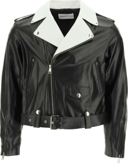 YOUTHS IN BALACLAVA LEATHER JACKET WITH CHAIN FRINGES M Black, White Leather