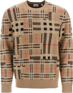 BURBERRY CHIDSEY TARTAN CASHMERE SWEATER M Brown, Black, Red Cashmere