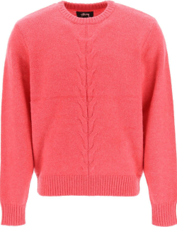 STUSSY DOUBLE CABLE SWEATER M Pink Wool