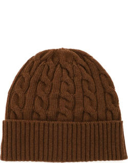 GM77 CABLE KNIT BEANIE HAT OS Brown Wool