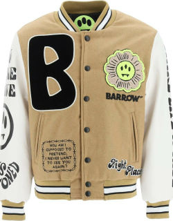 BARROW COLLEGE BOMBER JACKET IN WOOL AND FAUX LEATHER S Brown, White, Black Wool, Faux leather