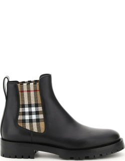 BURBERRY CHELSEA BOOTS WITH CHECK INSERTS 40 Black, Beige Leather
