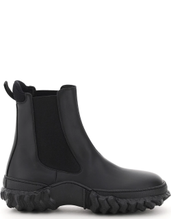 MARNI CHELSEA BOOTS WITH WAVY SOLE 38 Black Leather