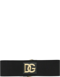 DOLCE & GABBANA STRETCH BELT WITH MONOGRAM 80 Black, Gold Technical, Leather