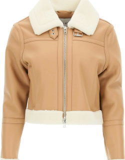 STAND LORELLE ECO-SHEARLING JACKET 38 Beige, White Faux leather, Faux fur