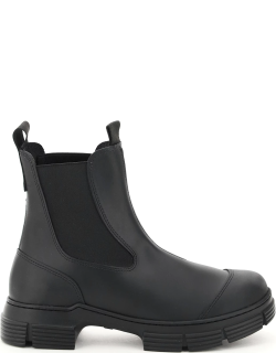 GANNI RECYCLED RUBBER CHELSEA BOOTS 36 Black