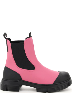 GANNI RECYCLED RUBBER CHELSEA BOOTS 37 Black, Fuchsia