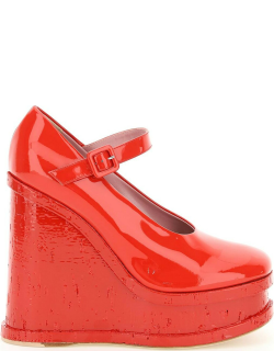HAUS OF HONEY LACQUE DOLL WEDGE MARY JANE 37 Red Leather