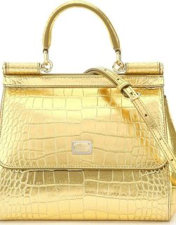 DOLCE & GABBANA CROCO PRINT LAMINATED LEATHER SMALL SICILY BAG OS Gold Leather