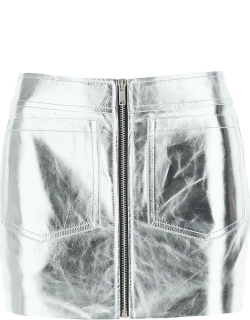 SAINT LAURENT SILVER LAMINATED LEATHER MINI SKIRT 38 Silver Leather