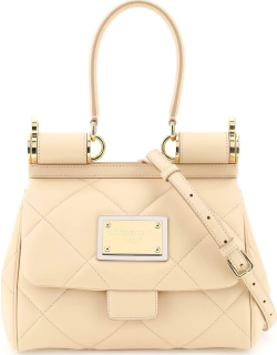 DOLCE & GABBANA QUILTED LEATHER SICILY BAG OS Pink Leather