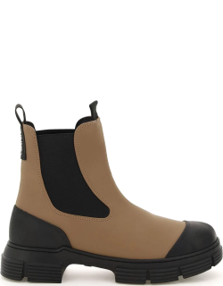 GANNI RECYCLED RUBBER CHELSEA BOOTS 37 Brown, Black