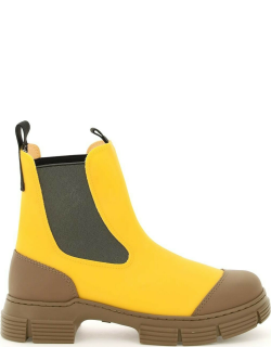 GANNI RECYCLED RUBBER CHELSEA BOOTS 36 Yellow, Beige