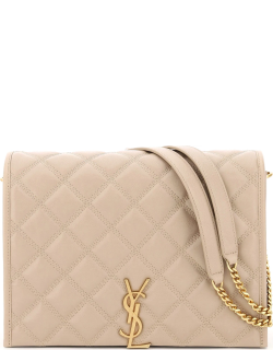 SAINT LAURENT SMALL BECKY QUILTED BAG OS Beige Leather