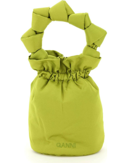 GANNI MINI BUCKET BAG WITH KNOTTED HANDLE OS Green Technical