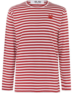 Comme des Garcons Striped Long Sleeve T Shirt - RED