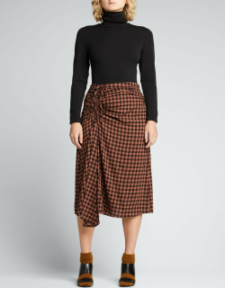 Orly Ruched Check Midi Skirt