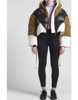 2 Moncler 1952 Orefa Coat with Color Block Zip Front and Faux Shearling