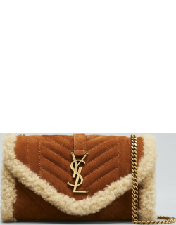 YSL Quilted Suede Shearling Chain Crossbody Bag