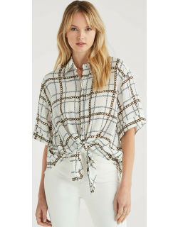 7 For All Mankind Womens Short Sleeve Tie Front Shirt in Chain Print