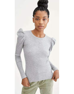 7 For All Mankind Womens Long Sleeve Puff Shoulder Crewneck in Heather Grey