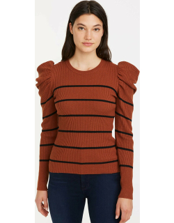 7 For All Mankind Womens Long Sleeve Puff Shoulder Crewneck In Spice/Black Stripe
