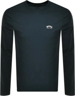 BOSS Togn Curved Long Sleeve T Shirt Navy