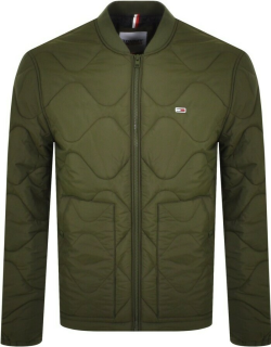 Tommy Jeans Quilted Bomber Jacket Green