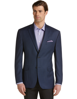 JoS. A. Bank Men's Executive Collection Traditional Fit Check Sportcoat, Bright Navy, 40 Short