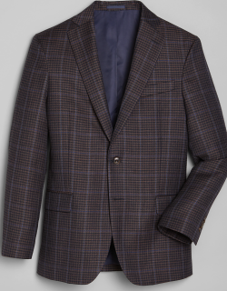 JoS. A. Bank Men's 1905 Collection Slim Fit Windowpane Check Sportcoat with brrr°®comfort, Brown, 43 Regular