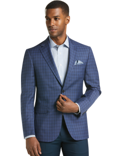 JoS. A. Bank Men's Traveler Collection Tailored Fit Check Sportcoat, Blue, 40 Regular