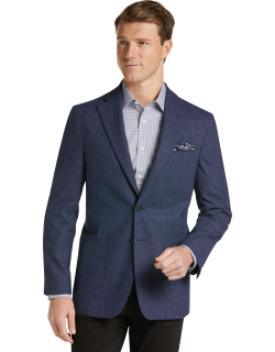 JoS. A. Bank Men's 1905 Collection Tailored Fit Mini Check Sportcoat with brrr°® comfort Clearance, Navy, 40 Regular