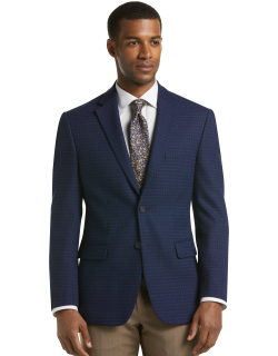 JoS. A. Bank Men's Travel Tech Collection Tailored Fit Check Sportcoat Clearance, Navy, 46 Regular
