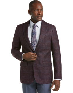 JoS. A. Bank Men's Reserve Collection Tailored Fit Textured Plaid Sportcoat, Wine, 44 Regular