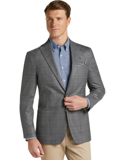 JoS. A. Bank Men's 1905 Collection Slim Fit Plaid Sportcoat with brrr°® comfort - Big & Tall, Grey, 48 Regular