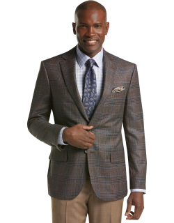 JoS. A. Bank Men's Reserve Collection Tailored Fit Plaid Sportcoat, Brown, 40 Regular