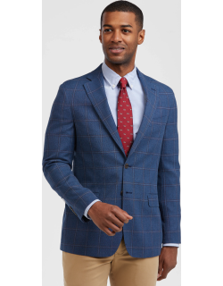 JoS. A. Bank Men's 1905 Collection Tailored Fit Windowpane Sportcoat with brrr°® comfort, Blue, 41 Regular