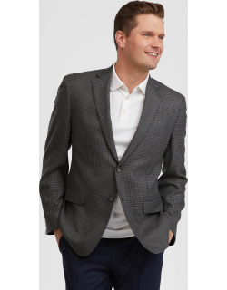 JoS. A. Bank Men's Executive Collection Traditional Fit Windowpane Check Sportcoat - Big & Tall, Grey, 48 Long