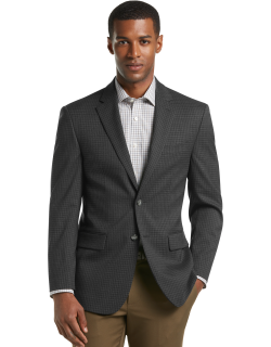 JoS. A. Bank Men's Travel Tech Collection Tailored Fit Check Sportcoat, Grey Black Chk, 40 Regular