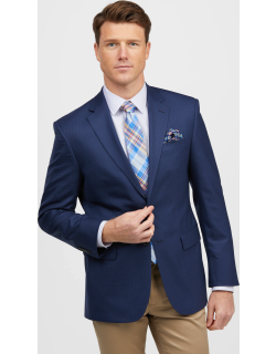 JoS. A. Bank Men's Traveler Collection Tailored Fit Small Check Sportcoat, Navy, 40 Regular