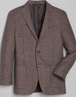 JoS. A. Bank Men's 1905 Collection Tailored Fit Check Sportcoat, Brown, 43 Regular