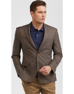 JoS. A. Bank Men's Traveler Collection Tailored Fit Check Sportcoat Clearance, Tan, 39 Regular