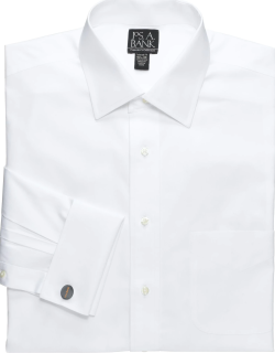 JoS. A. Bank Men's Traveler Collection Slim Fit Spread Collar French Cuff Dress Shirt, White, 15x33