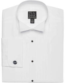 JoS. A. Bank Men's Executive Collection Slim Fit Wing Collar Formal Dress Shirt, White, 17x35