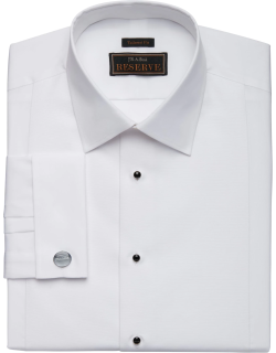 JoS. A. Bank Men's Reserve Collection Tailored Fit Bib-Front Spread Collar Formal Dress Shirt, White, 16x34